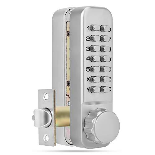 Cerradura de puerta con pestillo mecánico sin llave de doble teclado, cerradura de puerta con cerradura de combinación mecánica sin llave con teclados dobles, cerradura de código de 14 dígitos