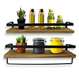 KelShiBasics Juego de 2 estantes flotantes de pared de madera y metal para cocina y baño, diseño industrial con toallero extra, 43 x 14,5 x 7 cm, color negro