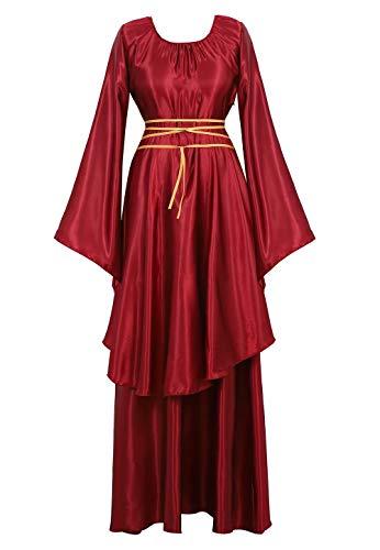 renacentista Vestido Medieval Mujer Vintage Victoriano gotico Manga Larga de Llamarada Disfraz Princesa Vino Rojo M