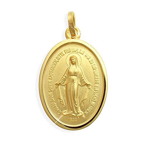 Viennagold Echt 14 Karat Gold 585 Wundertätige Madonna Immaculata Milagrosa Medaille (213018)