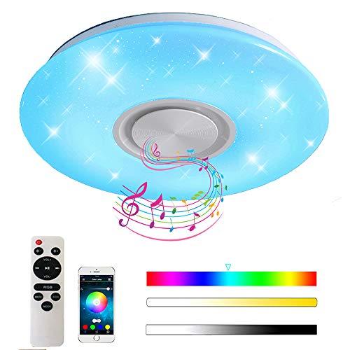 Natsen Bluetooth Deckenleuchte Lautsprecher RGB LED Deckenlampe dimmbar mit Fernbedienung/APP (24W Weiß RGB APP+Fernbedienung)