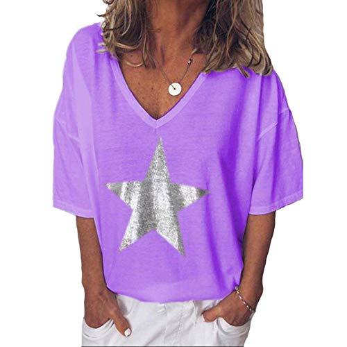 T-Shirt Frauen V-Ausschnitt gedruckt Sterne Loose Casual Kurzarm Frauen Kleidung Bottoming Top Pullover-lila_5XL