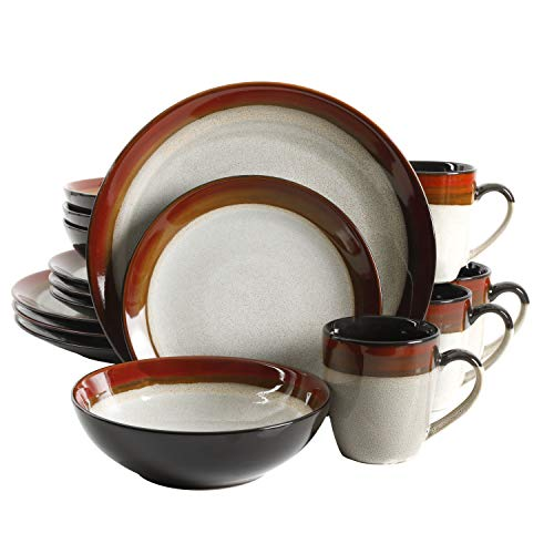Gibson Elite Couture Bands Round Reactive Glaze Stoneware Dinnerware Set, Service for 4 (16pcs), Red and Cream