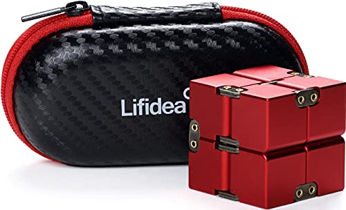 Lifidea Aluminum Alloy Metal Infinity Cube Fidget Cube (6 Colors) Handheld Fidget Toy Desk Toy with Cool Case Infinity Magic Cube Relieve Stress Anxiety ADHD OCD for Kids and Adults (Red)