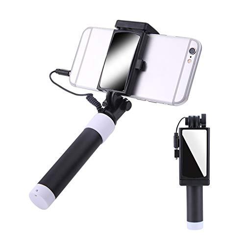 Libertepe Mini Selfie Stick, Handy Ständer Batterieloser ohne Bluetooth mit AUX Kabel Auslöser und Spiegel für Samsung Galaxy iPhone XS Max X 8 7 6s usw.