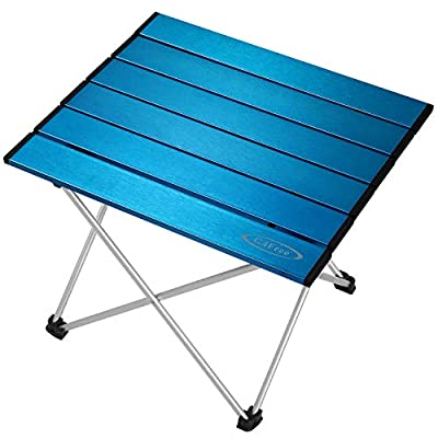 G4Free Portable Camping Table Aluminum Folding Table Compact Roll Up Tables with Carrying Bag for Outdoor Camping Hiking Picnic(Blue Large)