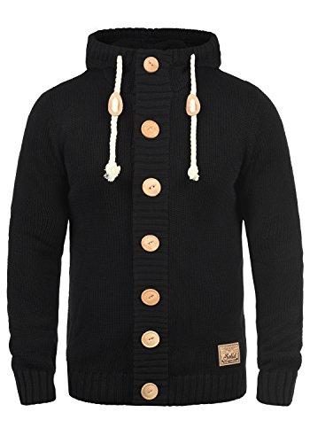 !Solid Peer Herren Strickjacke Cardigan Grobstrick Winter Pullover mit Kapuze, Größe:XL, Farbe:Black (9000)