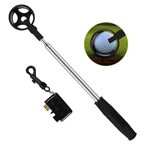 Brynnl Golfball-Retriever, tragbarer einziehbarer Golfball-Teleskop-Schaufelschoner mit 3-in-1-Taschen-Golfschläger-Bürstenzubehör Set Praktisches Golfball-Aufnahmeschacht-Kugelaufnahmeschaufel