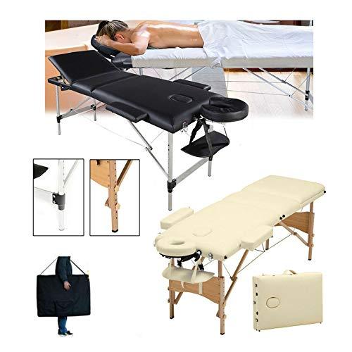 Massageliege Klappbar 2 Zonen Mobile Massage Bank Leichte Höhenverstellbar Holzfüßen Kosmetikliege Deluxe Professionelle Massagetisch mit 1 Kostenlose Tragetasche -Schwarz