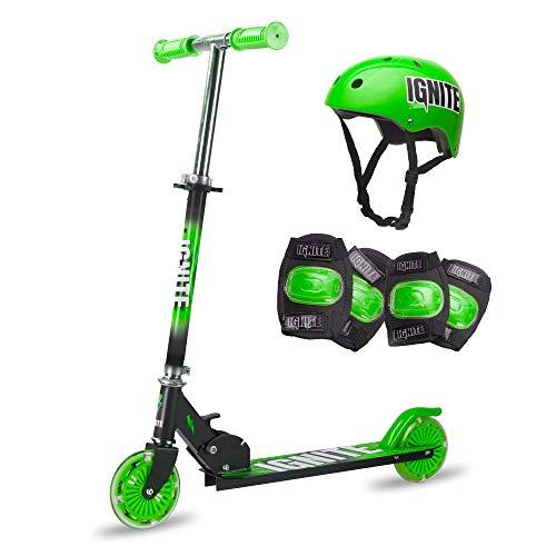 Ignite Flow - Patinete plegable con neumáticos luminosos, rodilleras y casco para niños a partir de 5 años, color verde
