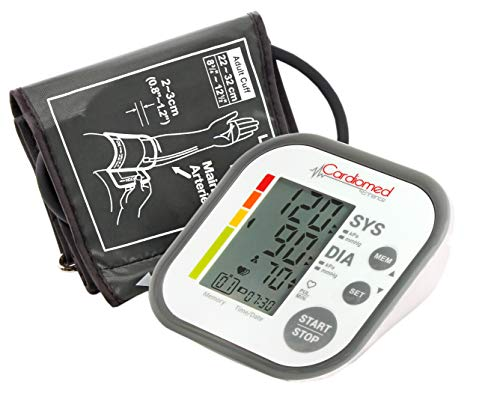 CARDIOMED Misuratore di Pressione da Braccio, Sfigmomanometro da Braccio Pressione Arteriosa Misurazione Automatic 2 x 60 Memorie (Display Piccolo)
