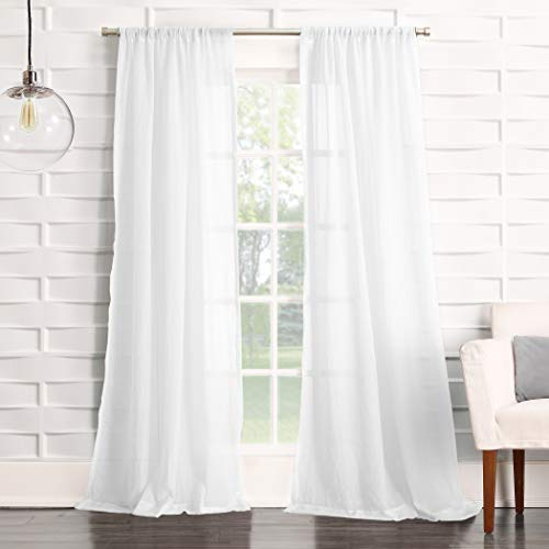 "No. 918 Tayla Crushed Texture Semi-Sheer Rod Pocket Curtain Panel, 50"" x 120"", White"
