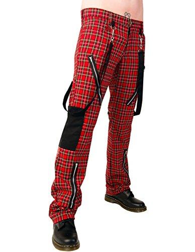 Black Pistol Herren Jeans Hose Schottenmuster - Punk Pants Tartan Rot 26