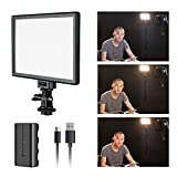 SUPON L122T Ultra-Thin LED Video Light Panel with LCD Display, Dimmable Bi-Color 3300K-5600K, CRI95+ Softer Lighting for Studio Outdoor Shooting, Portraits, YouTube, Wedding & USB Rechargeable Battery