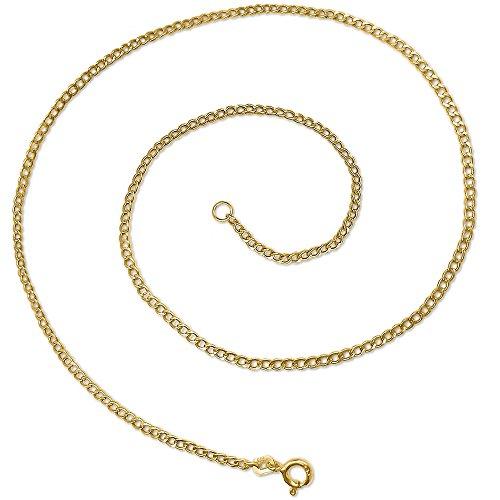 Clever joyas de oro cadena barbada de 40cm de largo, 1,6mm de ancho, alcance Estable Cadena Eslabones, brillante 333Oro 8quilates con funda