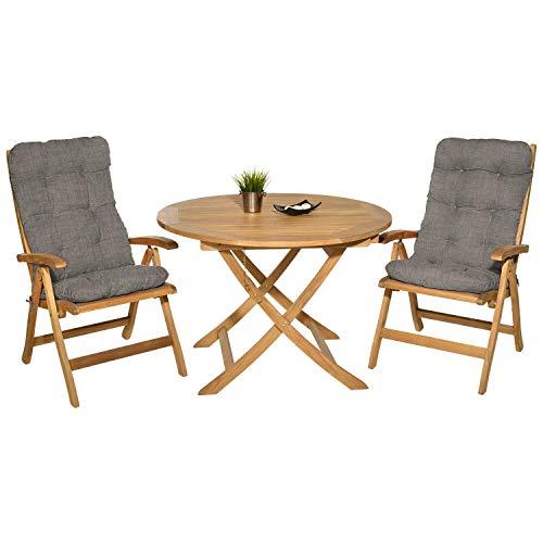 Pack 2 Cojines con Respaldo para Sillas de jardín. Conjunto de 2 Cojines para sillones de Interior y Exterior. Cojin para Silla con Respaldo, Cojines Acolchados, sillas Comedor. (Beige)