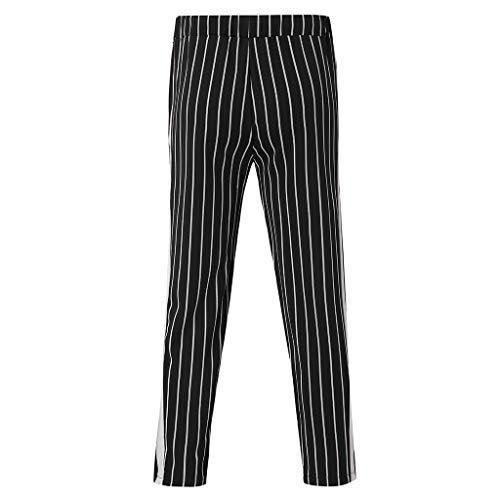 SoonerQuicker heren vrijetijdsbroek gestreepte broek met ritssluiting op de benen, snoepstrepen, joggingbroek met zijstrepen, elastische broek, trekkoord, losse fit, sportbroek met elastiek