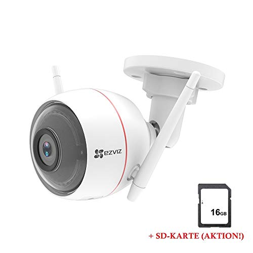 LEICKE CO67114 EZVIZ Husky Air 1080p bewakingscamera voor buiten, wifi, 2,4 GHz, sirene en licht alarm, nachtzicht, 2-weg audio, high-DB-luidspreker, Smart Home Security, weerbestendig IP66