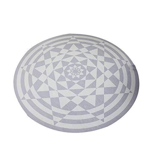 Carpetmll Rond tapijt, cartoontapijt, zwart, wit, ruiten, geometrisch vloerkleed, bloemenmotief, slipvast, slaapkamer, woonkamer, 3D print, vloerkleed