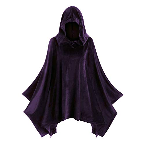 Onegirl Halloween Plus Size Solid Cloak Hooded Cape for Women Vintage Cosplay Matching Hoodie Fluffy Coat Purple