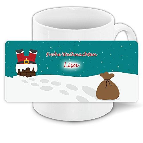 Lustige Weihnachtstasse mit Namen Lisa und lustigem Motiv mit Weihnachtsmann im Schornstein