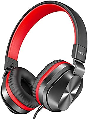 PeohZarr On-Ear Headphones with Microphone, Lightweight Folding Stereo Bass Headphones with 1.5M Tangle Free Cord, Portable Wired Headphones for Smartphone Tablet Laptop Computer MP3/4 by Peohzarr