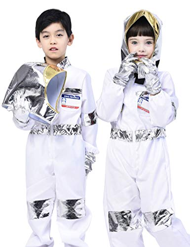 IKALI Kinder Astronaut Kostüm, Unisex Space Jumpsuit Pretend Play Outfit (5 Stück) 7-8 Jahre