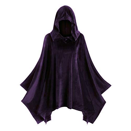LOPILY Umhang Kleid mit Kapuze Vintage Wasserfall Samtumhang Cape Vampir Kostüm Halloween Damen Cosplay Umhang Prop für Halloween Masquerade Mittelalter Bekleidung Karneval Kostüme (Lila, 36)