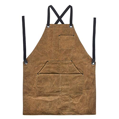 Max-Tonsen Bbq Canvas Apron Chef Kitchen Apron With Pockets For Cooking Artist Painting