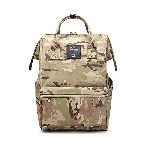 Lady Oxford Travel Bag Durable 14 inch Laptop Backpack Large Capacity School Bag for Teenager School Book Bag Unisex Rucksack-Camouflage_Yellow