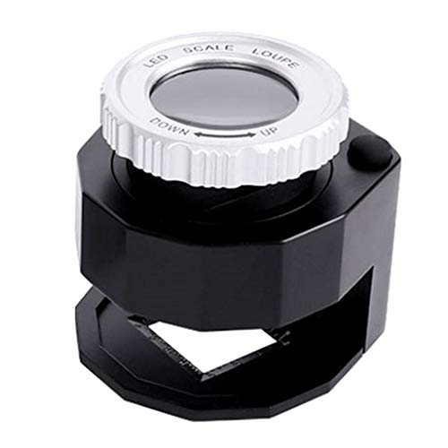 Esquirla Mini 30X Handheld Pocket Jewelers Magnifier Loupe Lens with 3 LED & UV Lights, Fabric Magnifying Jewelry Currency Detector Microscope - Black