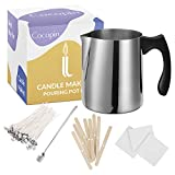 Candle Making Kit, Stainless Steel Pouring Pot, No Burn Handle, Arts and Craft Supplies for Adults, Kids, Large Melting Cup 900ml, 100 Cotton Wicks, 10 Bow Tie Clips, 100 Glue Dots