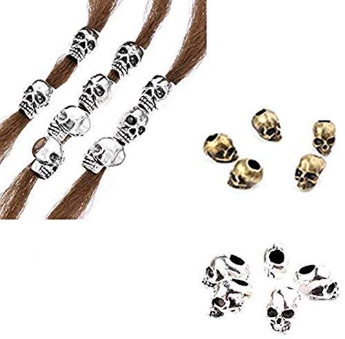ADIASEN 10 anillos para el pelo con diseño de calavera, estilo vintage, para mujeres, niñas, accesorios para el cabello, barba para hombres (plata)