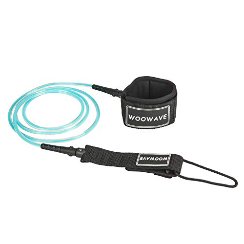 WOOWAVE Surfboard Leash Premium Surf Leash SUP Leg Rope Straight 6/7/8/9 feet for All Types of Surfboards with Waterproof Wallet/Phone Case (Clear Light Blue Core, 6ft & 7mm)