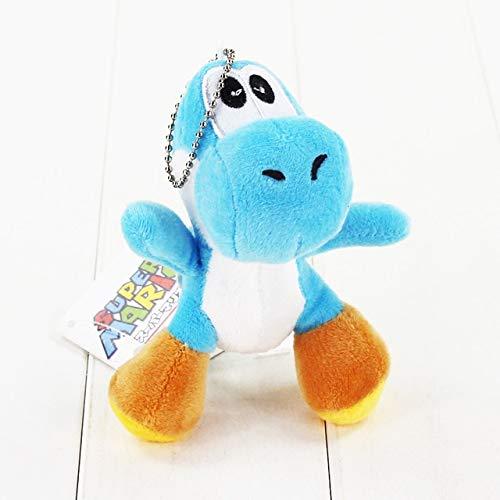 10 stijlen Super Mario Yoshi knuffel gevulde zachte hanger poppen met sleutelhanger sleutelhanger cadeau voor kinderen, meerblauw