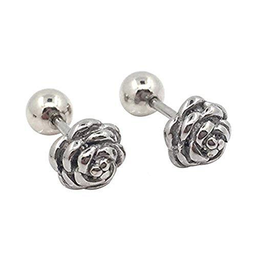 1 par de pendientes de tuerca de acero de titanio con forma de rosa y bola redonda de tornillo de tuerca de metal pendientes de joyería para hombres y mujeres - plata