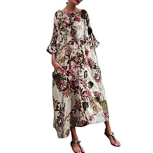 Best Review Of Women Summer Bohemian Maxi Dress Vintage Floral Print Dress 3/4 Sleeve Plus Size Pock...