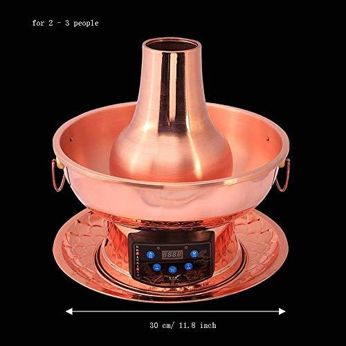 41e7 aQSMQL - Lamyanran Fondue-Fritteusen 2-4 Person 30cm Kupfer Hot Pot Haushalt, reines Kupfer Stecker Altmodische Charcoal Old Beijing Shabu Hot Pot mit Fernbedienung