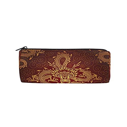 Estuche para lápices con diseño de dragón chino oriental, con cremallera, bolsa organizadora de papelería, bolsa de maquillaje cosmético, para niños, niñas, escuela, adultos, suministros de oficina
