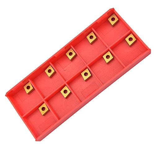 TANCUDER 10 Stück Wendeschneidplatten Drehmeißel Wendeschneidplatten Set Diamantform CNC Hartmetall Einsatzschneider Fräseinsätze Drehwerkzeuge mit Schachtel CCMT060204-HM YBC251 für Stahl