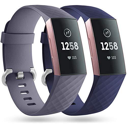 Faliogo 2 Stück Ersatzriemen Kompatibel mit Fitbit Charge 3 Armband/Fitbit Charge 4 Armband, Weiches Sports Uhrenarmband Armbänder für Damen Männer, Klein, Blau Grau/Blau