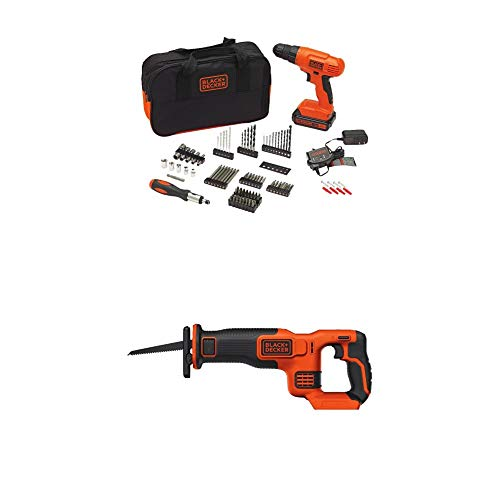 BLACK+DECKER BDCR20B 20V Max Lithium Bare Reciprocating Saw with BLACK+DECKER BDC120VA100 Cordless Project Kit with 100 Accessories