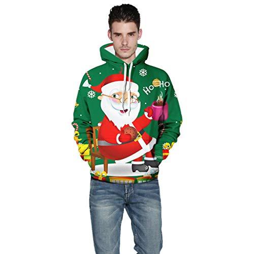 ODRD ODD Christmas Sweatshirts Herren Hoodie Weihnachtspullover - Xmas Unisex 3D Weihnachtsmann Cheer Ugly Sweatshirt Sweater - Hässliche Pulli Lustig Weihnachtspulli Damen Weihnachtsparty S~XXXXXL