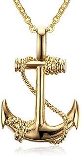 Anchor Pendant Necklace Punk Long Chain for Men