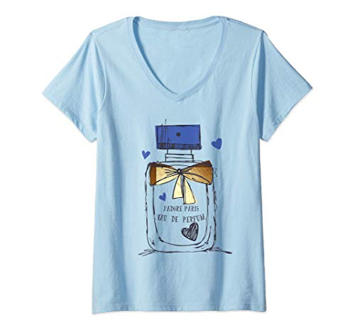Damen Paris Eau de Parfum Parfümflasche Nr. 1 Souvenir Geschenk T-Shirt mit V-Ausschnitt
