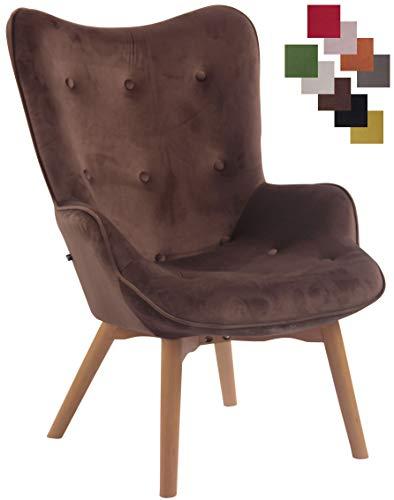 CLP Lounger Duke mit geknöpfter Polsterung und Stoffbezug I Loungesessel mit Armlehnen und Gestell aus Buchenholz, Farbe:braun
