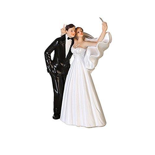 Kuchen-Aufsatz / Torten-Aufsatz Hochzeit Handy Selfie / Cake Topper / Torten-Figur Hochzeit Braut-Paar aus Polyresin - Höhe ca. 15 cm - Hochzeit - Hochzeits-Deko - Hochzeits-Torte - Braut-Paar