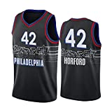 LXLX Negro 42# Al Hōrford Jersey, Phíládêlphia 76ers Jerseys de Baloncesto para Hombre, Competencia de Baloncesto de Nueva Temporada y Chaleco de Entrenamiento, 100% Pol XL