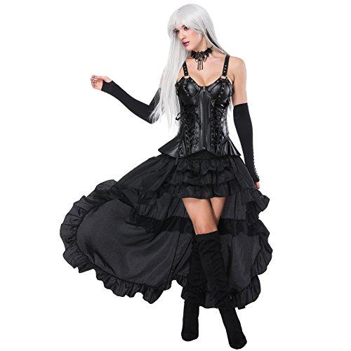 Lover-Beauty Vestido Mujer Steampunk Corset Sexy Bustier 18 Steel Ajustado Vestido Fiesta Encaje Bra Negro Falda Tutu con Corsé Vestido Dama de Honor Carnaval Ropa Invierno