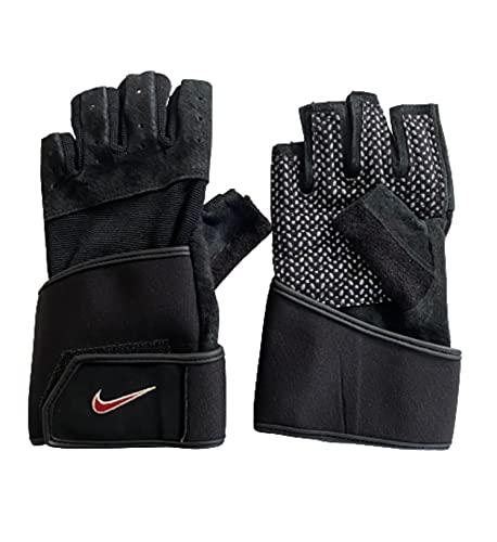 Nike Guantes de entrenamiento para hombre, neopreno, piel de cerdo, color negro, talla M/L